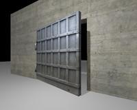 Steel Bunker Door, low poly