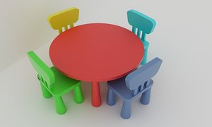 3ds max ikea chairs table