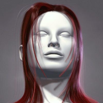 3d model hair character head