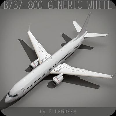 737-800 generic white plane 3d max