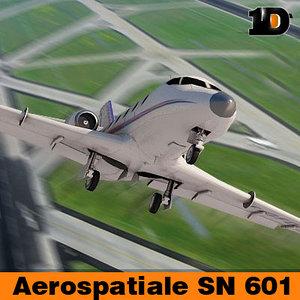 aircraft aerospatiale sn 601 3d model