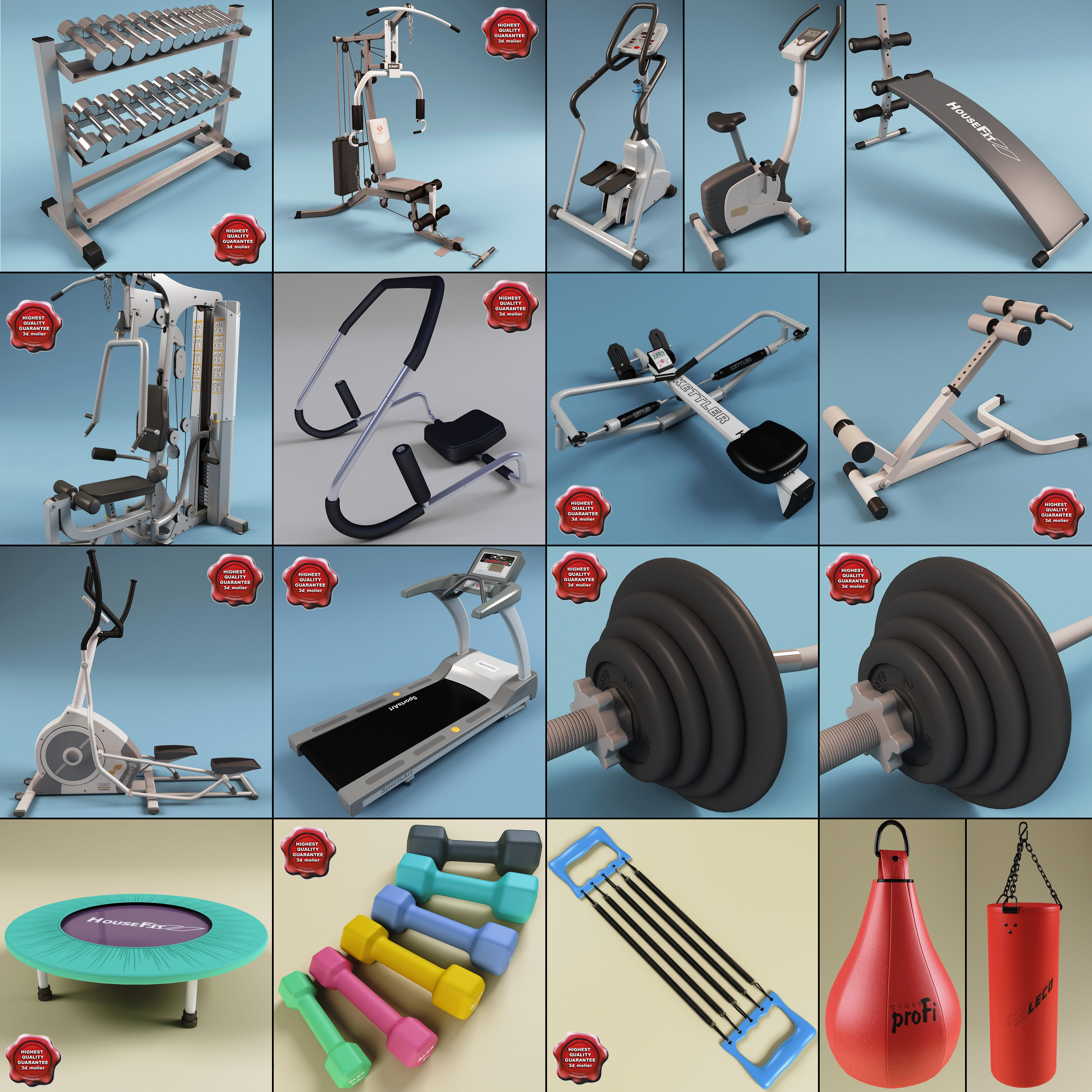 3d model gym equipment v3