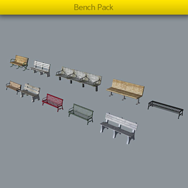 pack benches 3d model