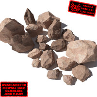 Rocks - Stones 4 Jagged RS03 - Light Red or Orange 3D rocks or stones