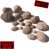 Rocks - Stones 4 Smooth RS03 - Light Red or Orange 3D rocks or stones