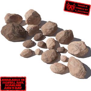 lot rocks stones - 3d model