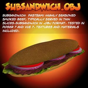 3d model sub sandwich