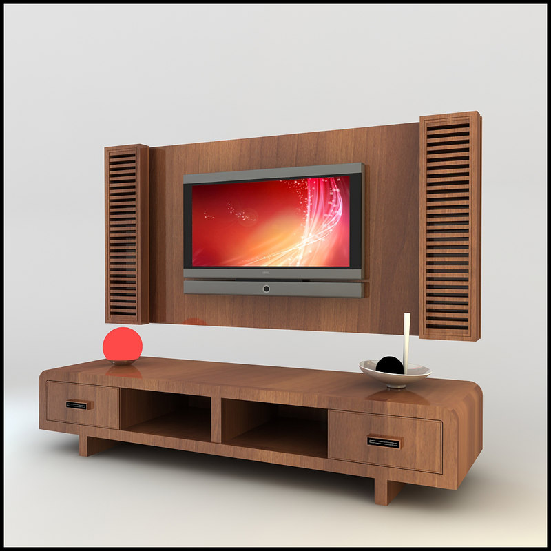 3d model modern tv wall unit - Lcd wall designs living room ...