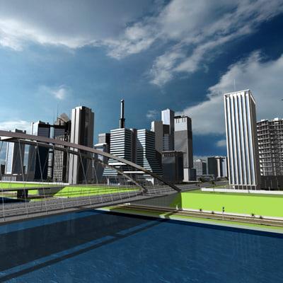 max city buildings highway street