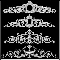 cartouches plaster decor ornament decoration building pediment fronton.