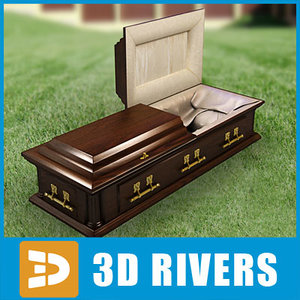 3d model dark wood coffin