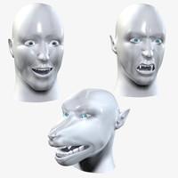 3d man head werewolf vampire