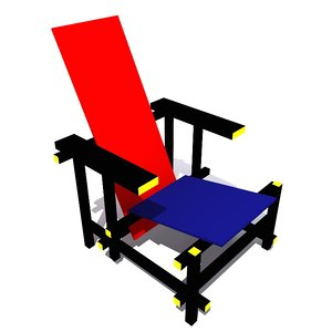 3d model red blue chair rietveld