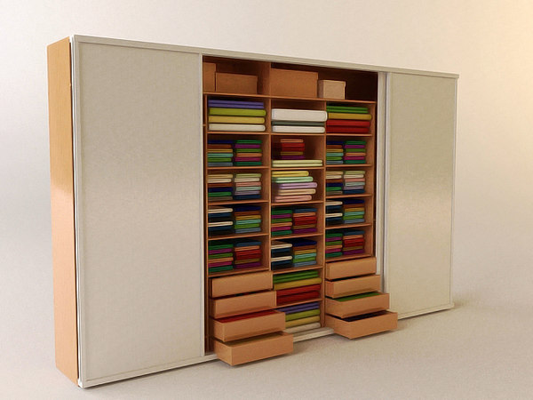 3d wardrobe shelves interior model
