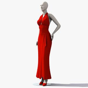 woman mannequin dress 3d obj