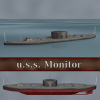 ironclad civil war warship 3d model