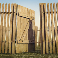 3d wooden fence door wood