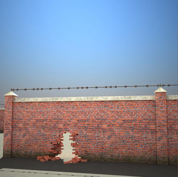 3d brick wall set