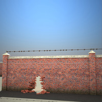 3d brick wall set
