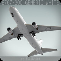 767-300 generic white plane 3d model