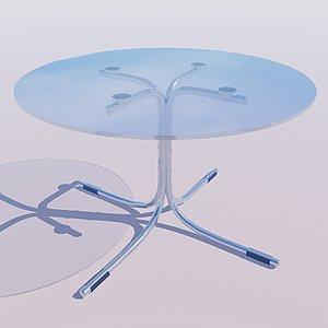 3d glass chrome table