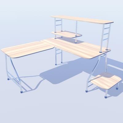 l shaped office desk 3d max