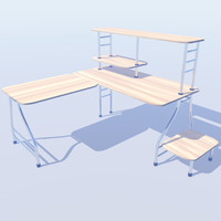 l shaped office desk 3d max