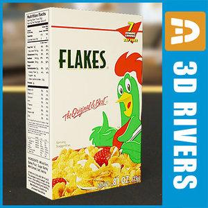 3d box corn flakes model