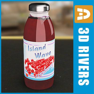 3d cranberry juice bottle