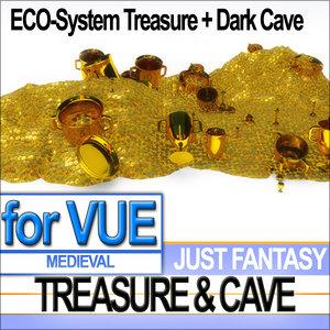 3d medieval cave gold treasure