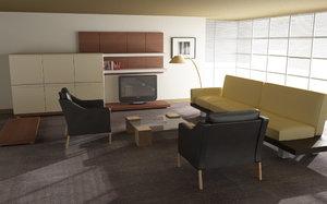 living room 01a 3d model