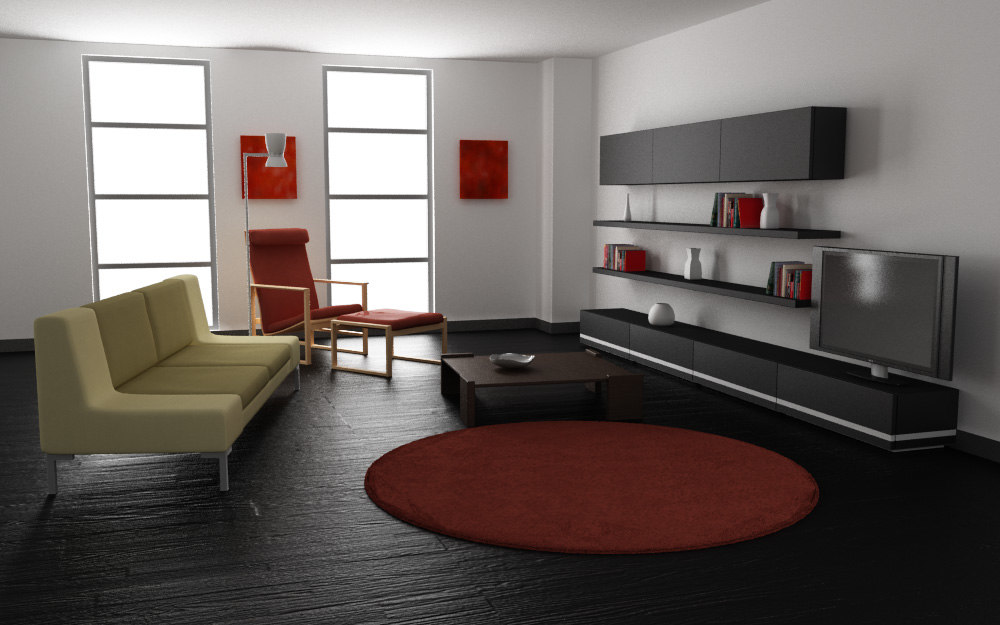 Impressive Living Room Modern Realistic Interior Model O In
