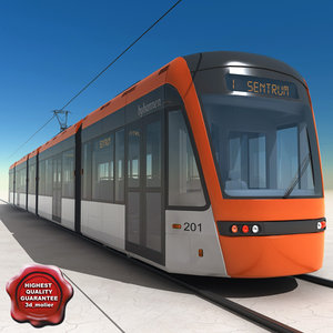 3d model low-floor light rail vehicle