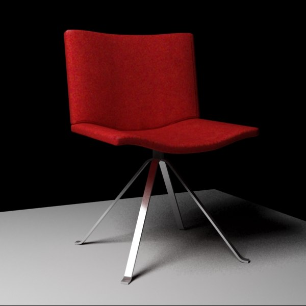 3d 3ds designed red chair