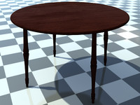 Table Small Round 2 - 3D Small Wooden Table model - Includes Wood Dark_1 Material - Made in 3ds max2010