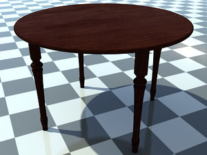 small wooden table includes 3d model