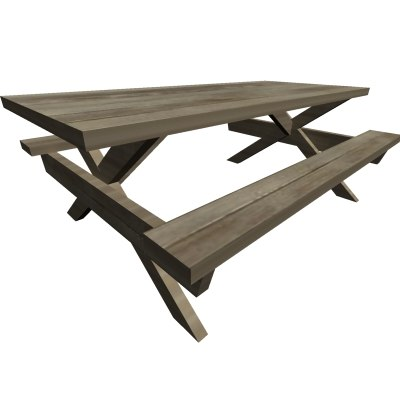picnic bench wooden 3d model