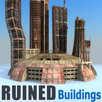 futuristic buildings ruined city 3d model