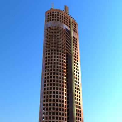 3d model sci fi futuristic ruined building