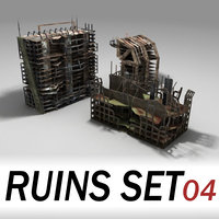 Ruined buildings set 04