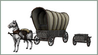 Horse and covered wagon