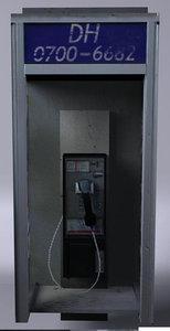phonebox payphone 3d model