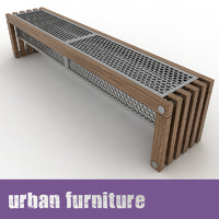 3d urban furniture bench