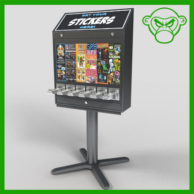 sticker vending machine 3d model