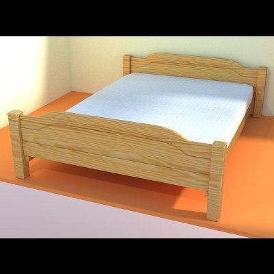 3d pine wood bed model