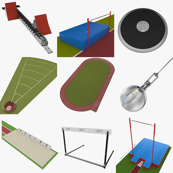 athletics equipment sets 3d model