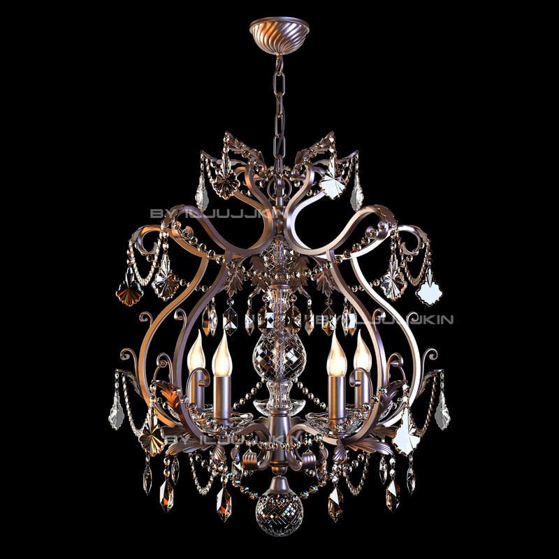 3d chandelier forged crystal model