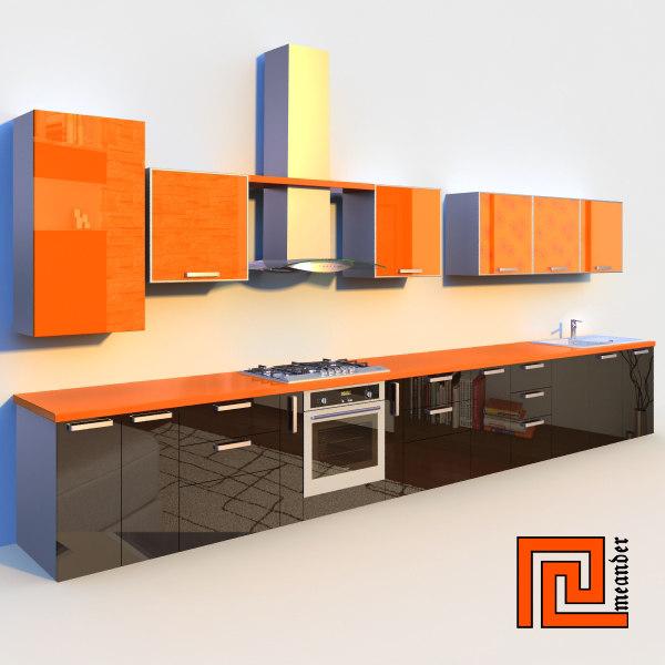 Kitchen set c4d for Kitchen set 008 26