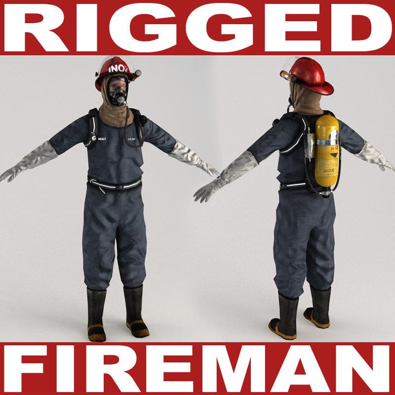 fireman v2 rigged 3d model