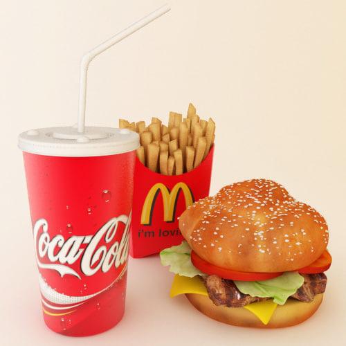 3d model mealset burger fries
